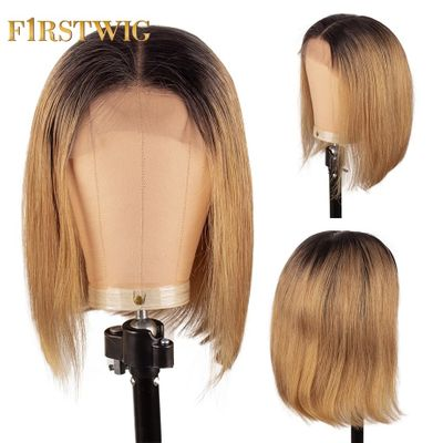 Short Straight Bob Wig Brazilian Ombre Lace Front Human Hair Wigs 27 purple Long Pre Plucked For Black Women Remy Firstwig