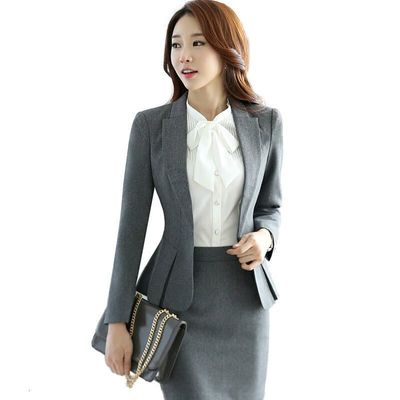 High Quality Fashion Slim Ladies Wear Suits Office Clothes Working Women's Long Sleeve Jacket Women Skirt For Formal Suit