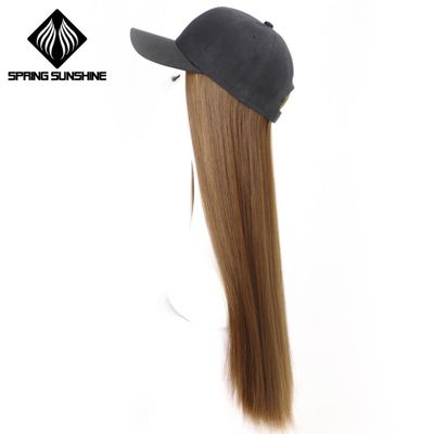 Baseball Cap Hair Extensions 22inch Long Silky Straight Intergrate Cap Hair Baseball Hat with Synthetic Hair Wig Black Brown