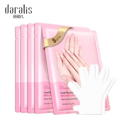 5pair=10pcs Snail Moisturizing Hand Mask Exfoliating Spa Gloves Whitening Hand Cream Anti-Aging Nourishing Masks Hand Skin Care