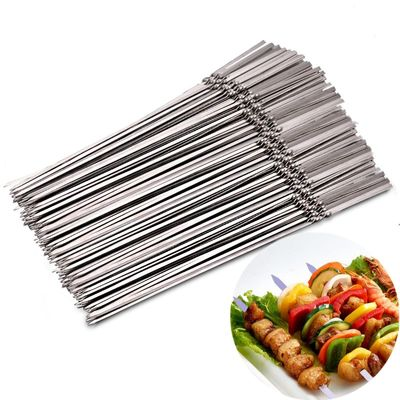 15pcs30pcs60pcs Reusable flat stainless steel barbecue skewers bbq Needle stick  For outdoor camping picnic tools cooking tools