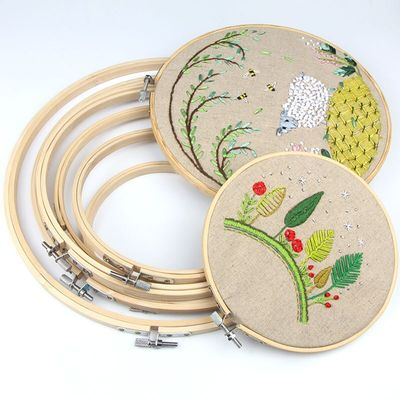 Round Bamboo Cross Stitch Hoops Embroidery Circle Set Hoops Cross Hoop Ring Wooden Adjustable Bamboo Hoops Handy Sewing
