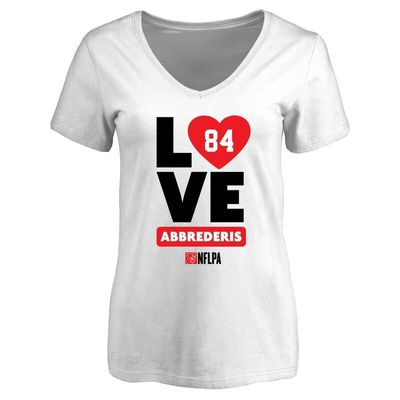 Jared Abbrederis Fanatics Branded Women's I Heart V-Neck T-Shirt - White