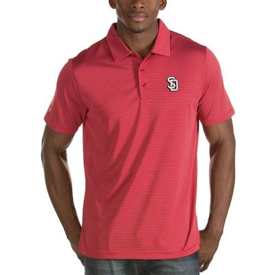 South Dakota Coyotes Antigua Quest Stripe Jersey Polo - Red