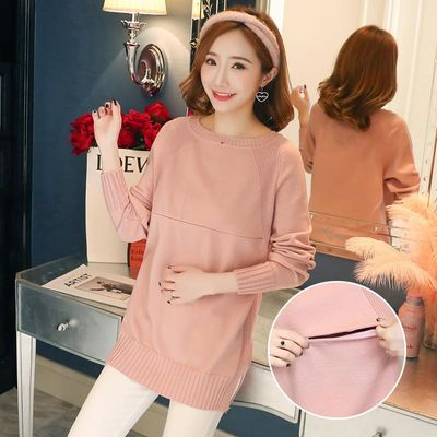 806# Autumn Fashion Knitted Maternity Nursing Sweaters Lacation Mother Shirts for Pregnant Women Winter Pregnancy Feeding Tops