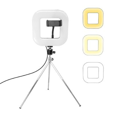 18cm Dimmable LED Square Light With Tripod Phone Fill Light Portable Clip-on For Selfie Live Broadcast Girl Makes Up