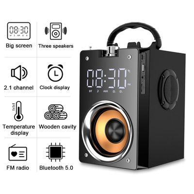 3600mAh 5.0 Wireless Bluetooth Speaker Outdoor LED Display 3D Surround Stereo Subwoofer TF FM AUX Card Player Radio Alarm Clock