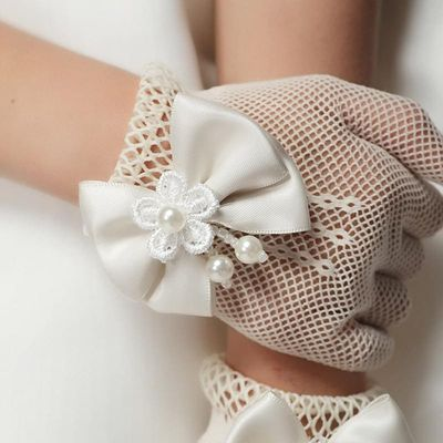 Kid child flower girl short gloves student lace glove costume party dancing performance gloves  wholesale 3-6years old