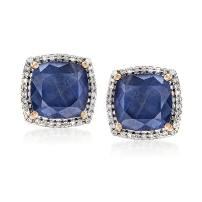 Ross-Simons Sapphire and . Diamond Stud Earrings in 14kt Yellow Gold