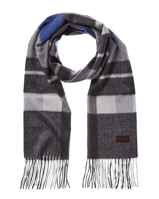 Hickey Freeman Exploded Plaid Cashmere Scarf