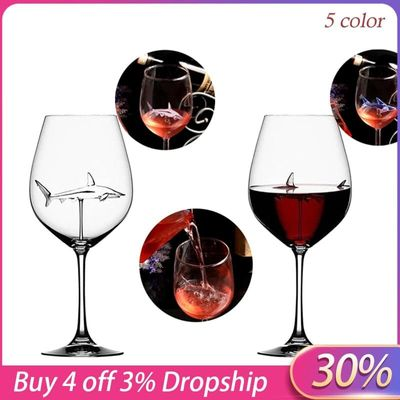 2020 Hot  Home The Original Shark Red Wine Glass Wine Bottle Crystal For Party Flutes Glass Creative New Arrival Barware