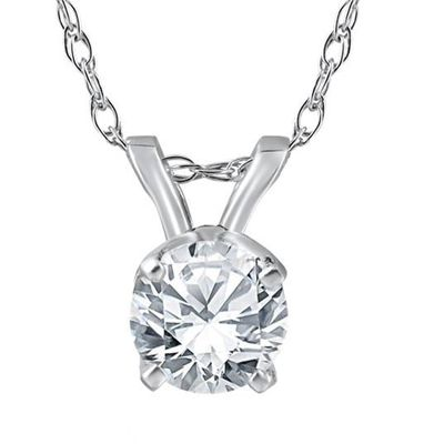3/4 ct Diamond Solitaire Pendant 14K White Gold Certified