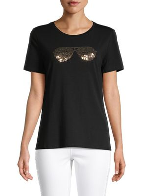 Karl Lagerfeld Paris Sequined Stretch-Cotton Tee
