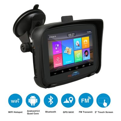 Fodsports 5 inch Motorcycle GPS Navigation Android 6.0 Wifi IPX7 Waterproof Bluetooth GPS Navigator FM Navigation touch screen