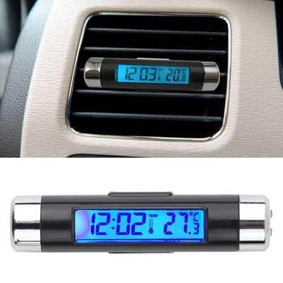 SPEEDWOW 2in1 Car Digital LCD Temperature Thermometer Clock Calendar Automotive Car Styling Blue Backlight Clock & Thermometer
