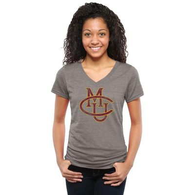 CMU Mavericks Women's Classic Primary Tri-Blend V-Neck T-Shirt - Gray
