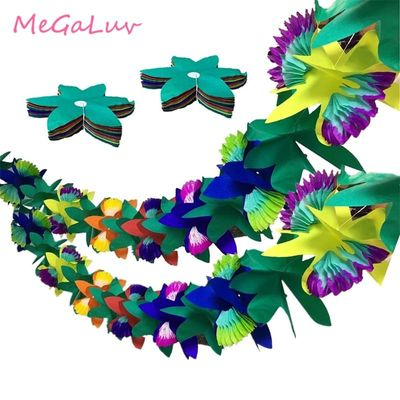 2set 3m Tissue Flower Leaves Luau Paper Garland Tropical Jungle Birthday Party Decorations Hawaiian Themed Party Supplies