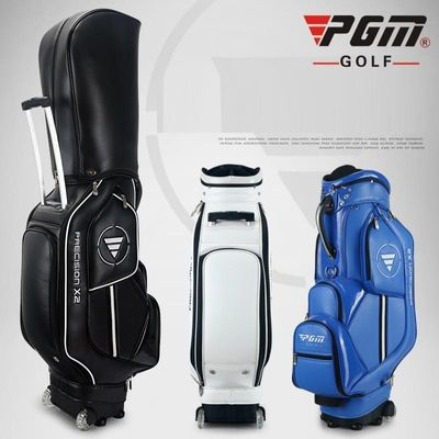 PGM Retractable Golf Bag Waterproof Leather Golf Standard Bag Large Capacity Travel Package With Wheels Patent Designed