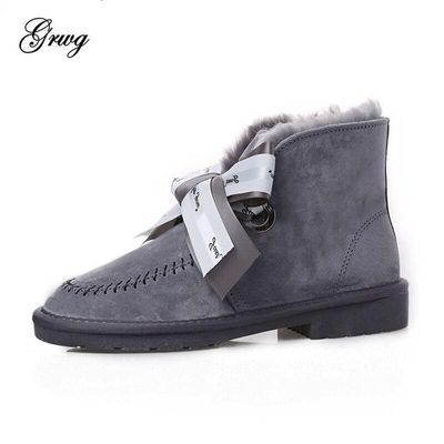 GRWG High Quality 100% Genuine Leather Women Snow Boots Natural Fur Winter Boots Women's Fashion Ankle Boots Wool Women Shoes