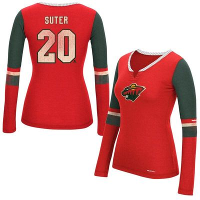Ryan Suter Minnesota Wild Reebok Women's Edge PlayDry Long Sleeve Jersey T-Shirt - Red