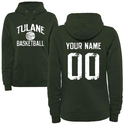 Tulane Green Wave Women's Personalized Distressed Basketball Pullover Hoodie - Green