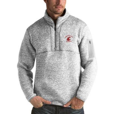 Washington State Cougars Antigua Fortune 1/2-Zip Pullover Sweater - Heathered Gray