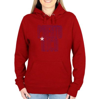Puerto Rico Women's Flag Pullover Hoodie - Red