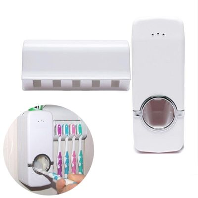 2pcs/Lset Holder Automatic Toothpaste Dispenser +5 Toothbrush Auto Wall Mount Rack Home Supply Set Squeezer