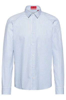 HUGO BOSS - Slim Fit Shirt In Striped Cotton Canvas