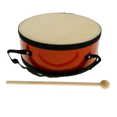 Tooyful Exquisite Wood Indian Hand Drum Double Side with Mallet Beater for Children Musical Toy Gift