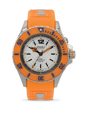 KYBOE! Neon Orange Silicone & Stainless Steel Strap Watch/40MM