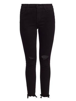 J Brand Alana High-Rise Distressed Crop Skinny Jeans