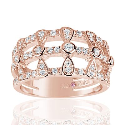 Suzy Levian Rose Sterling Silver Cubic Zirconia Three Row Multi-Shape Ring