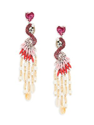 Dannijo Freda Silverplated, Man-Made Pearl, Glass Crystal & Beaded Statement Earrings