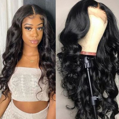 Allrun Human Hair Wigs For Women 4*4 Lace Closure Wig With Baby Hair Brazilian Body Wave Lace Wig Non-Remy Hair Natural Color