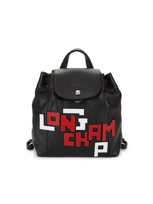 Longchamp Le Pliage Leather Logo Backpack