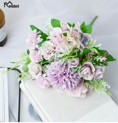 Meldel Artificial Peony Flowers Silk Bouquet for Wedding Decoration Small Fake Rose Flowers Home Decor DIY Faux Rose Peony Flore