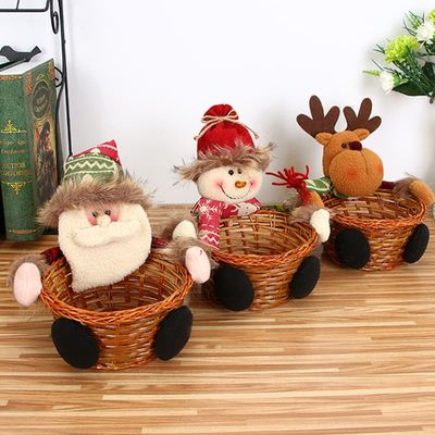 New Christmas Candy Storage Basket Decoration Santa Claus Storage Basket Gift Christmas Decoration Xtmas Candy Storage Basket