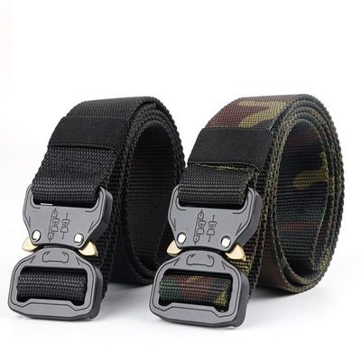 Army Tactical Belt Nylon Military Belt Wide Metal Buckle Adjustable Heavy Duty Waist Belt Hunting Camping Training Accessories