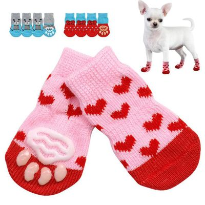 4Pcs Xmas Pet Dog Cats Puppy Cotton Warm Anti-Slip Socks Shoes Winter Paw Protector Pet Supplies