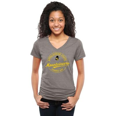 Appalachian State Mountaineers Women's Established Vintage Tri-Blend V-Neck T-Shirt - Ash