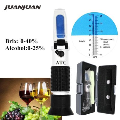 Retail Box Specific Gravity 0-40% Brix Alcohol Refractometer Tester for Wort Beer Wine Grape Sugar ATC Set Sacc 47% off