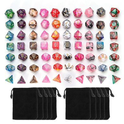 7Pcs Dice Set Polyhedral Mixed Color Dice For RPG Role Playing Game Board Game Dice Set + Storage Bag