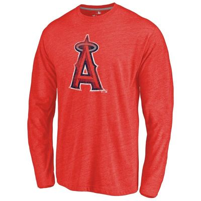 Los Angeles Angels Distressed Team Long Sleeve Tri-Blend T-shirt - Red