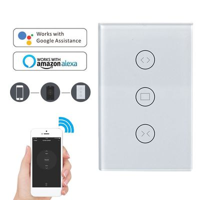 EU / USA Wifi Touch Switch Switch Curtain Wall Switch By Alexa / Google Phone Control For Electric Curtain Smart Home Motor