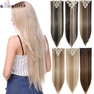 S-noilite 8Pcs/set Long Straight Clip in on Hair Extensions real Synthetic Black Brown Red Pink Purple