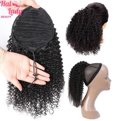 Halo Lady Beauty Drawstring Jerry Curly Ponytail Human Hair Remy Brazilian 1 Piece Clip In Hair Extensions Pony Tail 1B
