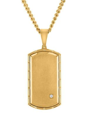 Men's Gold-Tone Stainless Steel Cubic Zirconia Dog Tag Pendant Necklace