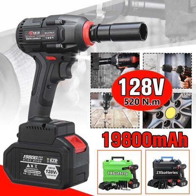 128VF 19800mAh Brushless Cordless Impact Electric Wrench 520 N.m Torque 1/2