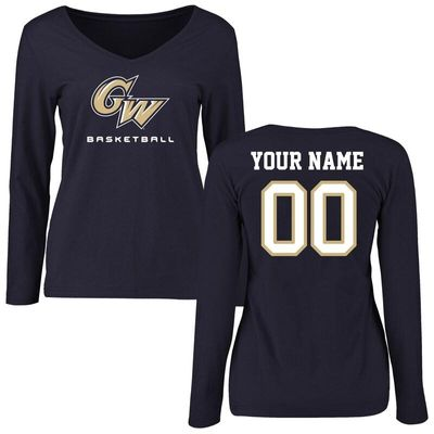 GW Colonials Women's Personalized Basketball Long Sleeve T-Shirt - Navy